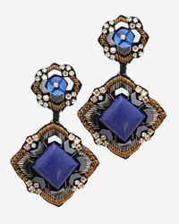 Ranjana Khan - Blue Embellished Lapis Clip On Earrings - Lyst