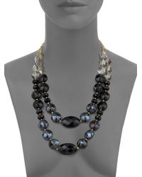 Saks Fifth Avenue - Black Twostrand Faceted Bead Necklace - Lyst