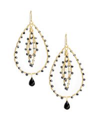 Saks Fifth Avenue | Metallic Black Spinel Triple Loop Earrings | Lyst