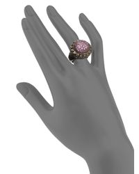 Slane - Pink Sapphire Sterling Silver Basketweave Ring - Lyst