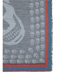 Alexander McQueen - Gray Bordered Skull-print Triangle Scarf for Men - Lyst
