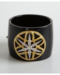 Amrapali | Metallic Black Bakelite Ornate Diamond Bangle | Lyst