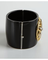 Amrapali - Metallic Black Bakelite Ornate Diamond Bangle - Lyst