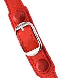 Balenciaga - Red Rubber Stud Wrap-Around Leather Bracelet - Lyst
