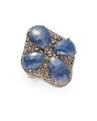 Bavna | 1.85 Tcw Champagne Pavã© Diamond, Blue Sapphire & Sterling Silver Ring | Lyst