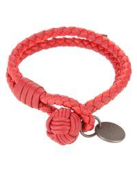 Bottega Veneta - Red Intrecciato Bracelet - Lyst