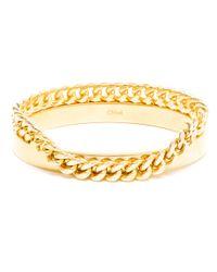 Chloé - Metallic Gold Bangle and Chain Bracelet - Lyst