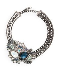 Judith Leiber - Blue Multichain Jeweled Cluster Necklace - Lyst