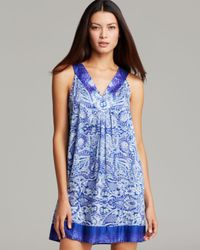Oscar de la Renta | Blue Paisley Mirage Short Nightgown | Lyst