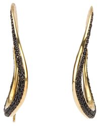 Tom Binns | Metallic Jet Pave Wavy Hoop Earrings | Lyst