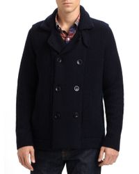 Vince | Blue Sherpa-Lined Wool Peacoat for Men | Lyst