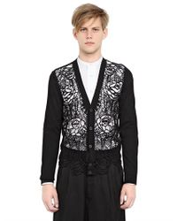 Alexander McQueen - Black Floral Web Embroidered Cotton Cardigan for Men - Lyst