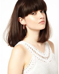 ASOS - Red Limited Edition Seed Bead Hoop Earrings - Lyst