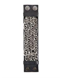 Balmain - Black Metal Chains Leather Bracelet for Men - Lyst