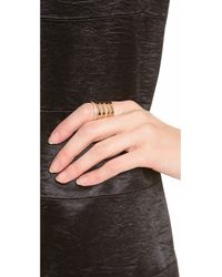Campbell - Metallic Floating Stacker Ring with Diamonds - Lyst