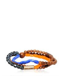 DSquared² | Multicolor Triple Beaded Elasticated Bracelet for Men | Lyst