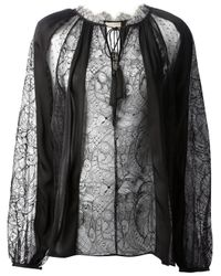 Emilio Pucci   Black Ostrich Feather-trimmed Jersey Top   Lyst