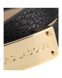 Marc By Marc Jacobs - Black New Plaque Double Wrap Leather Bracelet - Lyst