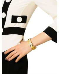 Moschino - Metallic Grained Leather Bracelet - Lyst