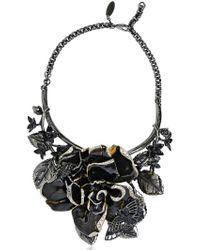 Roberto Cavalli - Black Enamel Flowers Brass Necklace - Lyst