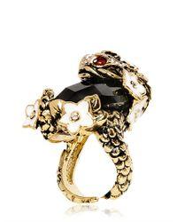 Roberto Cavalli | Metallic Swarovski Stone Carp Ring | Lyst