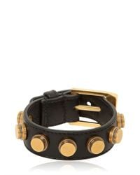 Saint Laurent | Black Studded Leather Cuff Bracelet | Lyst
