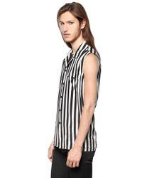 Saint Laurent - White Striped Sleeveless Silk Shirt for Men - Lyst