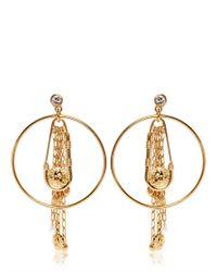 Versus - Metallic Safety Pin Hoop Fringe Earrings - Lyst