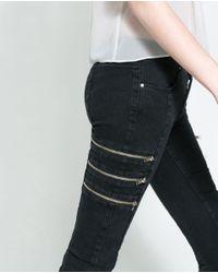 Zara Jeans with Zips in Black | Lyst
