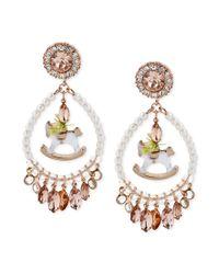 Betsey Johnson | White Rose Goldtone Beaded Rocking Horse Chandelier Earrings | Lyst