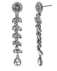 Betsey Johnson | Metallic Crystallized Flower Linear Earrings | Lyst