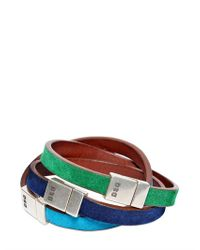 DSquared² | Green Three Multicolor Logo Leather Bracelets for Men | Lyst