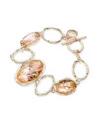 Jones New York | Metallic Gold-tone Oval Stone Toggle Bracelet | Lyst