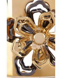 Karen Millen - Metallic Cutwork Flower Statement Cuff - Lyst
