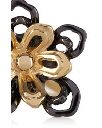 Karen Millen - Black Cutwork Flower Statement Ring - Lyst