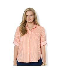 Lauren by Ralph Lauren | Pink Plus Size Rolltabsleeve Striped Linen Shirt | Lyst