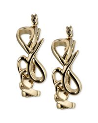 RACHEL Rachel Roy | Metallic Goldtone Love Script Hoop Earrings | Lyst