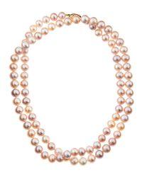 Belpearl - Metallic Freshwater Pink Long Pearl Necklace - Lyst