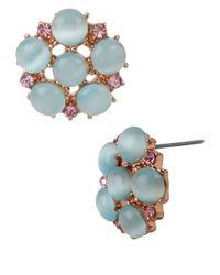 Betsey Johnson - Blue Cats Eye Beaded Flower Stud Earrings - Lyst