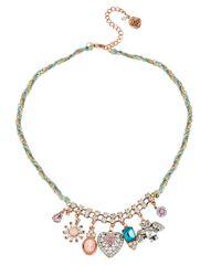 Betsey Johnson - Multicolor Gold-tone Semi-precious Turquoise Bead Multi-charm Necklace - Lyst