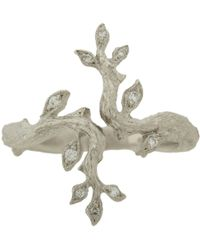 Cathy Waterman - Metallic Pavé Diamond Platinum Leaf and Branch Ring - Lyst
