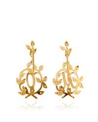 Natasha Zinko - Metallic Customizable 18k Gold and White Diamond Letter Earrings - Lyst