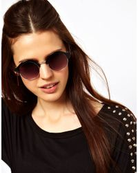 ASOS - Black Half Round Sunglasses with Metal Bridge Detail - Lyst