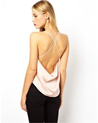 ASOS - Natural Cami with Drape Cowl Neck and Back - Lyst