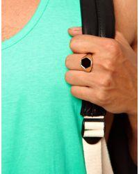 ASOS - Metallic Signet Ring with Shaped Edge - Lyst