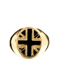 ASOS - Metallic Signet Ring with Union Jack for Men - Lyst