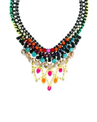 ASOS | Multicolor Bang Bang Multi Row Necklace With Semi Precious Stones | Lyst