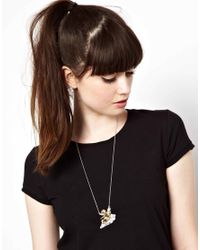 ASOS - Metallic Exclusive To Asos Cherub On The Cloud Necklace - Lyst
