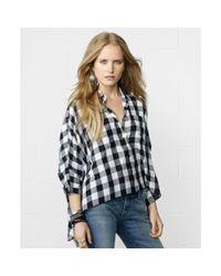Denim & Supply Ralph Lauren | Blue Dolmansleeve Cropped Plaid Shirt | Lyst