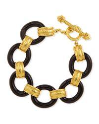 Elizabeth Locke | 19K Gold & Black Jade Bracelet | Lyst